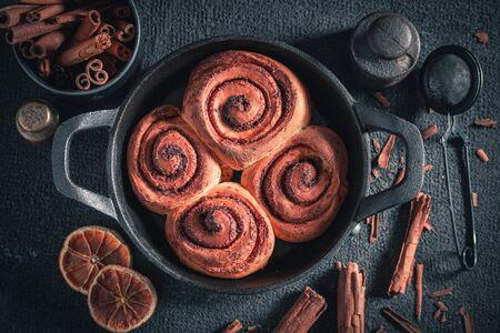 Delicious cinnamon rolls as swedish classic dessert