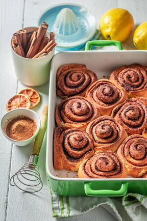 Sweet cinnamon rolls as swedish classic dessert