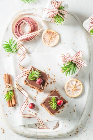 Sweet and homemade Gingerbread cake for Christmas with jam