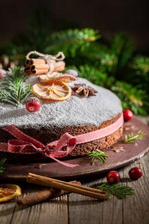 Closeup of poppy seed cake for Christmas made with cocoa Фото со стока