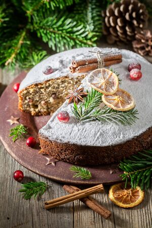 Yummy and sweet poppy seed cake for Christmas with cocoa