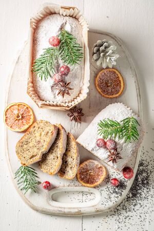 Poppy seed cake for Christmas on white table