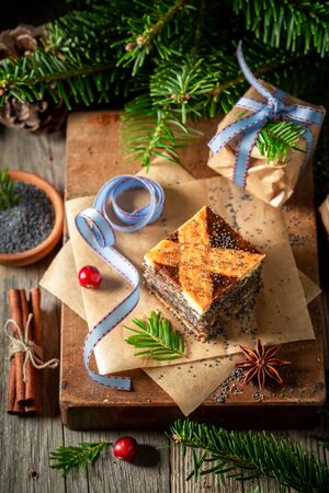 Top view of poppy seed cake for Christmas