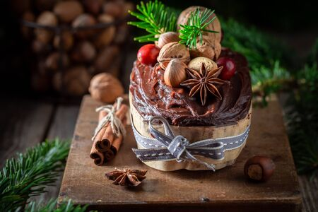 Sweet and chocolate gingerbread nuts for Christmas baked