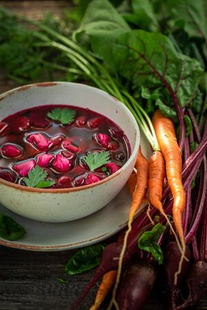 Homemade and healthy beetroot soup made of fresh beetroots