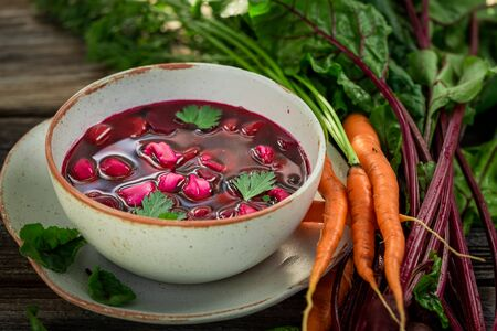 Delicious and hot beetroot soup made of fresh beetroots