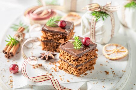 Sweet and tasty Gingerbread cake for Christmas with jam Zdjęcie Seryjne