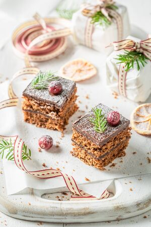 Rustic Gingerbread cake for Christmas with jam