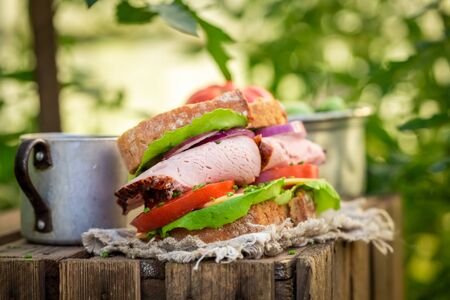 Homemade and tasty sandwich with tomato, ham and cheese Stockfoto
