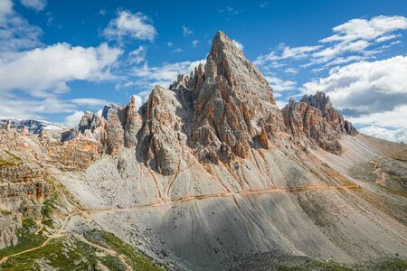 Breathtaking aerial view to Monte Paterno in Dolomites Stock Photo