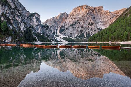 Beautiful Lago di Braies in Dolomites, Italy Stock Photo