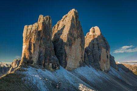 Famous placein Dolomites, Tre Cime peaks at sunrise, Italy Stock Photo