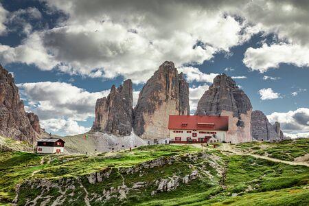 Dreizinnen hut and Tre Cime di Lavaredo in Italian Dolomites