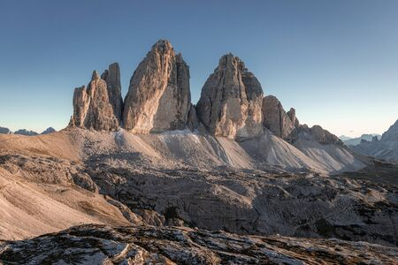 Beautiful view to Tre Cime peaks in Italian mountains Stock Photo