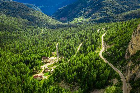 Sass de Stria peak near Passo Falazarego, Dolomites, aerial view