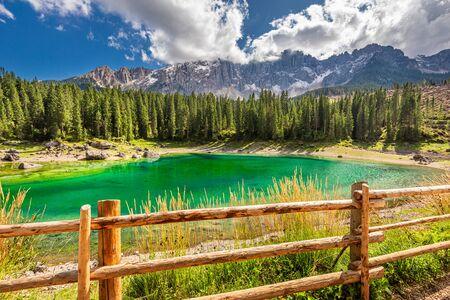 Beautiful Carezza lake in summer, Dolomites, Italy Stock Photo