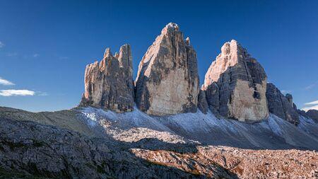 Wonderful view to Tre Cime di Lavaredo, Dolomites Stock Photo