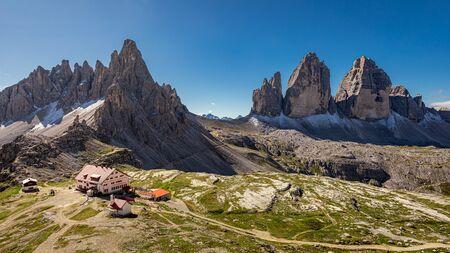 Stunning panorama of Tre Cime and Dreizinnen hut, Dolomites Stock Photo