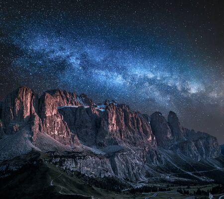 Milky way over Passo Gardena in Dolomites