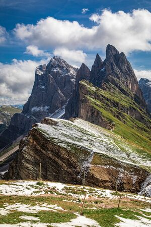 First snow on Seceda in South Tyrol, Dolomites