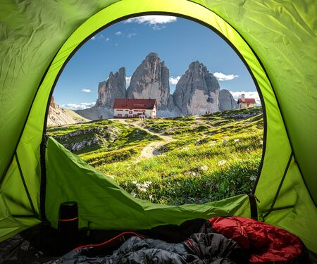 Camping in tent near Dreizinnen hut and Tre Cime, Dolomites Stock Photo