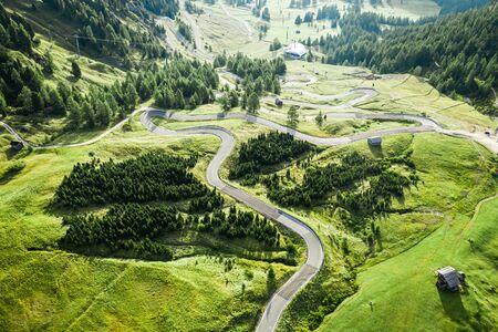Serpentine leading to Passo Gardena, Dolomites, aerial view Stok Fotoğraf