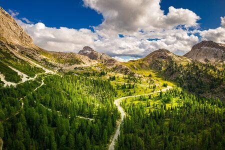 Passo Falazarego in summer, Dolomites, aerial view