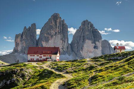 Mountain shelter Dreizinnen hut and Tre Cime di Lavaredo, Dolomites
