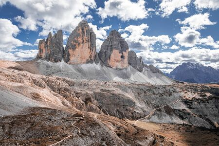 Wonderful aerial view to Tre Cime peaks in Dolomites, Italy