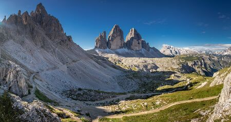 Wonderful panorama to Tre Cime di Lavaredo in Dolomites, Italy