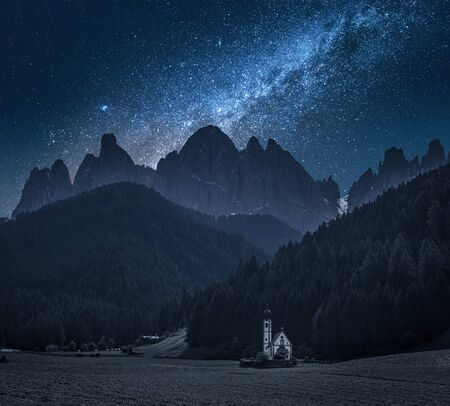 Milky way over Church St. Johann in Ranui, Dolomites