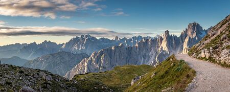 Panorama of mountains trail to Tre Cime in Dolomites, Italy Stock Photo