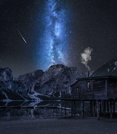 Milky way over Lago di Braies in Dolomites