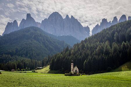 Chapel St. Johann in Ranui in Dolomites, Itay