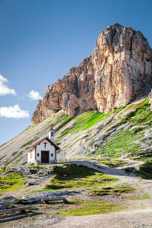 Sasso di Sesto and Chiesetta Alpina in Tre Cime, Dolomites Stock Photo