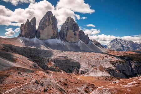 Wonderful view to Tre Cime peaks in Italian Dolomites