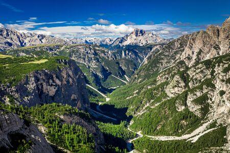 Wonderful view to valley in Tre Cime di Lavaredo, Dolomites