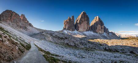 Beautiful panorama of Tre Cime di Lavaredo at sunrise, Dolomites Stock Photo