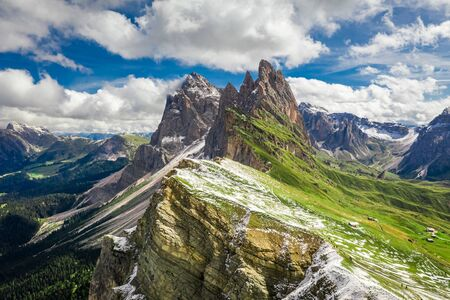 Aerial view of Seceda in South Tyrol, Dolomites