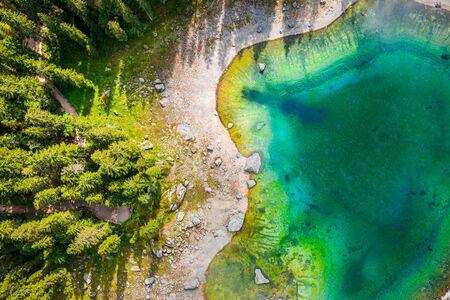 Top view of mountain lake Carezza, Dolomites, Italy Stock Photo