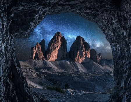 Stunning view to Tre Cime from cave at night, Dolomites Stock fotó