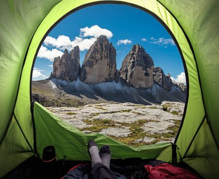View from tent to Tre Cime in Dolomites, Italy