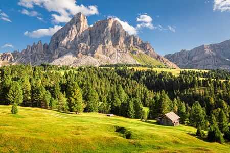 Stunning view of Passo delle Erbe in Dolomites Stock Photo
