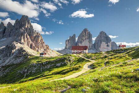 Breathtaking Tre Cime di Lavaredo and Dreizinnen hut, Dolomites, Italy Stock Photo