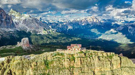 Mountain shelter nuvolau near Passo Giau, Dolomites, aerial view