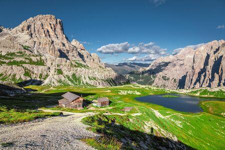 Mountain lake Laghi dei Piani near Tre Cime, Dolomites Stock Photo