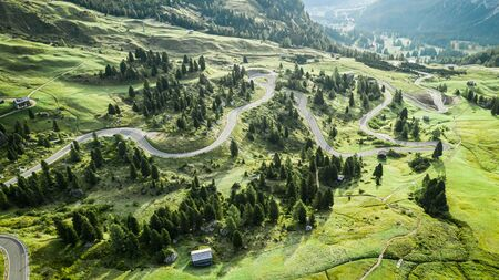 Aerial view of winding road at Passo Gardena, Dolomites