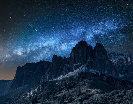 Milky way over passo gardena at night, Dolomites