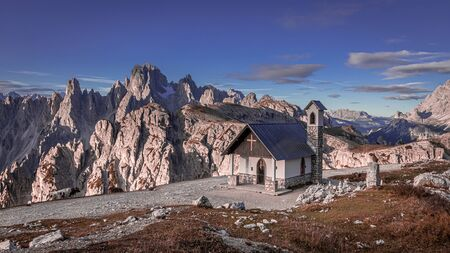 Small chapel on the mountain trail to Tre Cime, Dolomites
