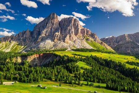 Aerial view of Passo delle Erbe in Dolomites at sunset